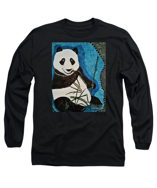 Long Sleeve T-Shirt featuring the painting Panda by Jasna Gopic