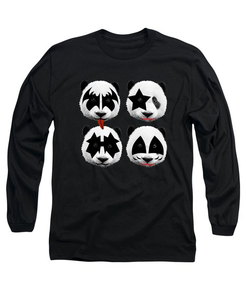 Panda Kiss  Long Sleeve T-Shirt by Mark Ashkenazi