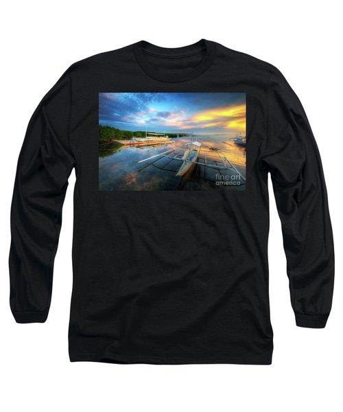 Long Sleeve T-Shirt featuring the photograph Panglao Port Sunset 9.0 by Yhun Suarez