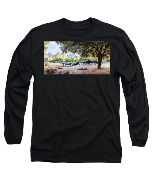 Panorama Of Cattle Drive At Pioneer Plaza In Downtown Dallas - North Texas Long Sleeve T-Shirt