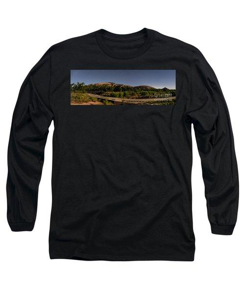 Panorama Of Enchanted Rock At Night - Starry Night Texas Hill Country Fredericksburg Llano Long Sleeve T-Shirt