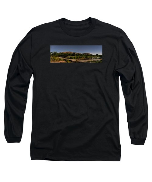 Panorama Of Enchanted Rock At Night - Starry Night Texas Hill Country Fredericksburg Llano Long Sleeve T-Shirt