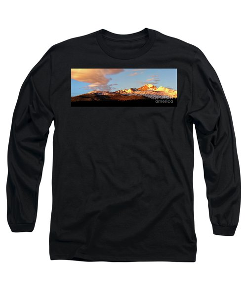 Panorama View Of Longs Peak At Sunrise Long Sleeve T-Shirt by Ronda Kimbrow