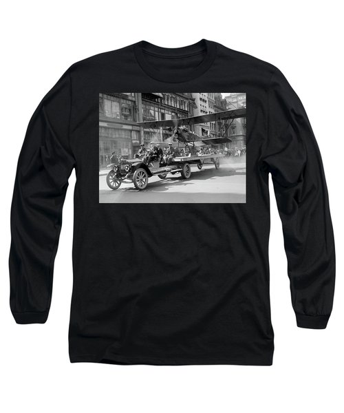 Parade Truck And Biplane Bw Long Sleeve T-Shirt