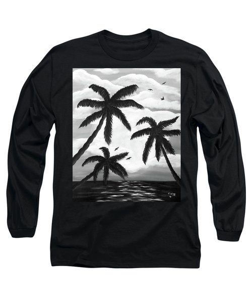 Long Sleeve T-Shirt featuring the painting Paradise In Black And White by Teresa Wing