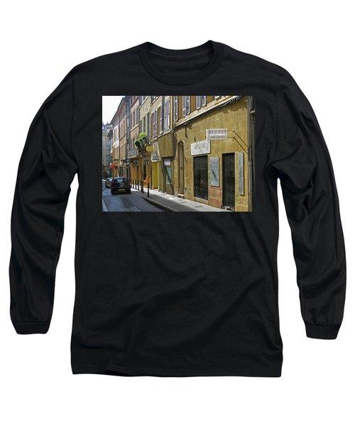 Paris Street Scene Long Sleeve T-Shirt by Jim Mathis