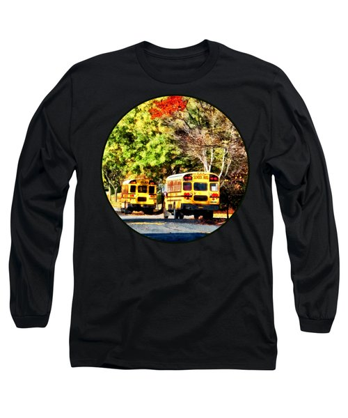 Parked School Buses Long Sleeve T-Shirt by Susan Savad