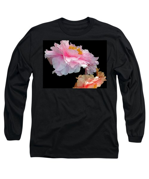 Pas De Deux Glowing Peonies Long Sleeve T-Shirt by Lynda Lehmann
