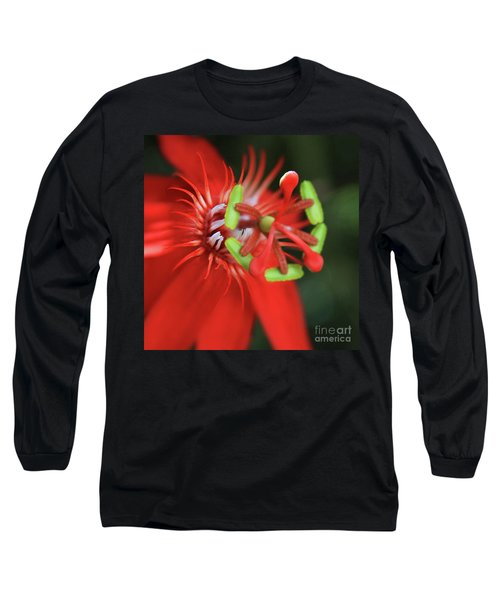 Long Sleeve T-Shirt featuring the photograph Passiflora Vitifolia Scarlet Red Passion Flower by Sharon Mau