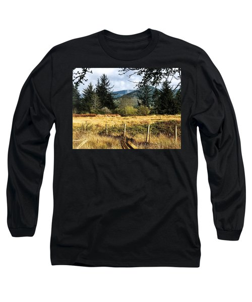 Pasture, Trees, Mountains Sky Long Sleeve T-Shirt