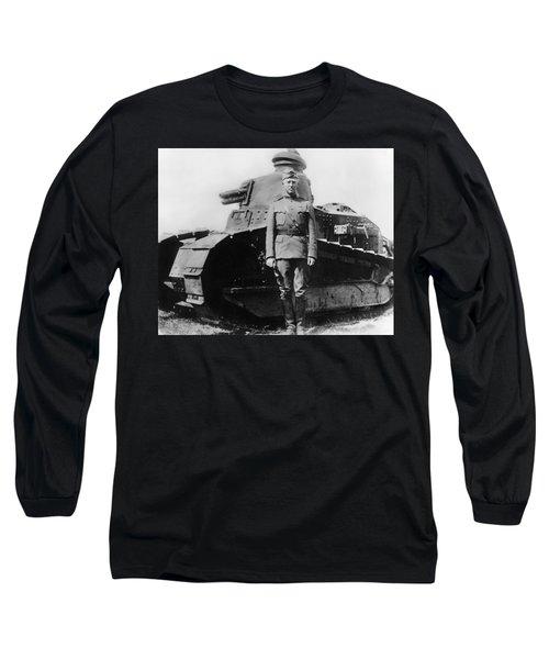 Patton Beside A Renault Tank - Wwi Long Sleeve T-Shirt