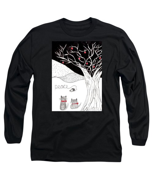 Long Sleeve T-Shirt featuring the drawing Peace by Lou Belcher