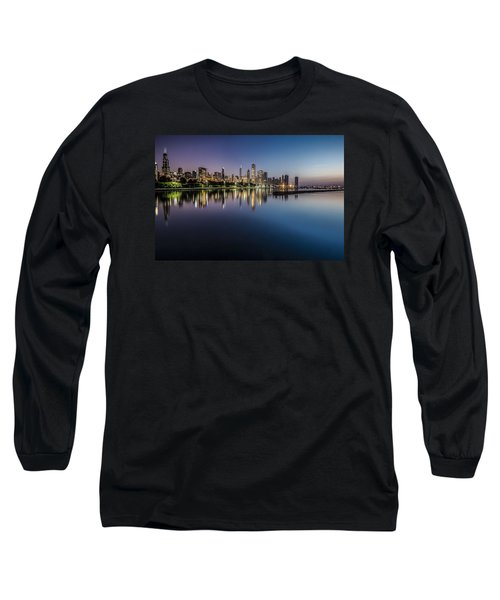 Peaceful Summer Dawn Scene On Chicago's Lakefront Long Sleeve T-Shirt