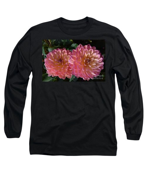 Peachy Dahlias Long Sleeve T-Shirt