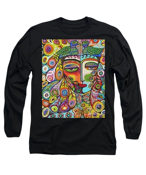 Peacock Emerald Lovebirds Goddess Long Sleeve T-Shirt