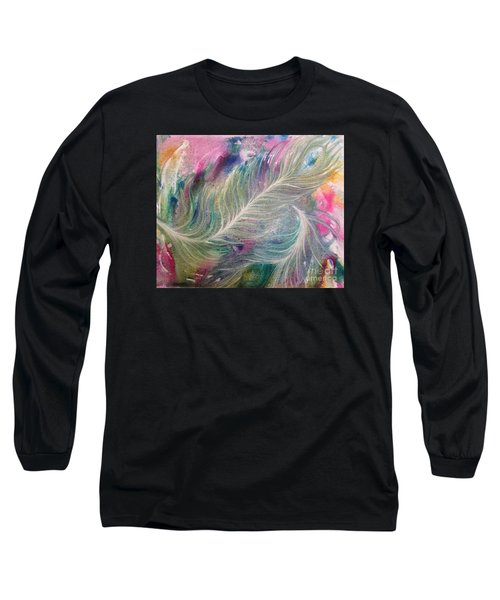 Peacock Feathers Pastel Long Sleeve T-Shirt by Denise Hoag