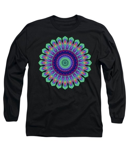 Peacock Fractal Flower 5 Long Sleeve T-Shirt