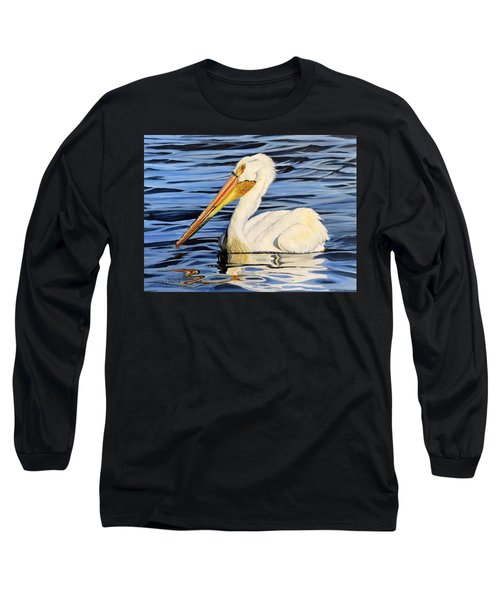 Pelican Posing Long Sleeve T-Shirt by Marilyn McNish