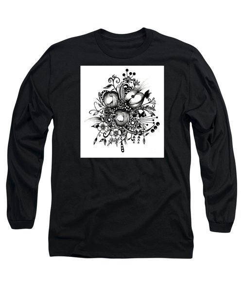 Long Sleeve T-Shirt featuring the drawing Pen And Ink Drawing Apples Black And White Art by Saribelle Rodriguez