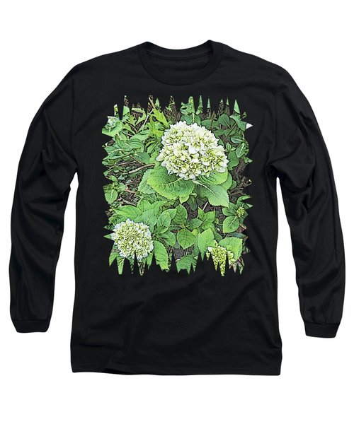Pencil Sketch Hydrangea With Jagged Edges Long Sleeve T-Shirt