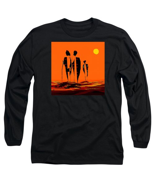 Long Sleeve T-Shirt featuring the painting Penman Origiinal-295-long Walk Home by Andrew Penman
