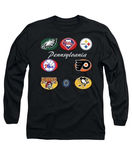 Pennsylvania Professional Sport Teams Collage  Long Sleeve T-Shirt by Movie Poster Prints