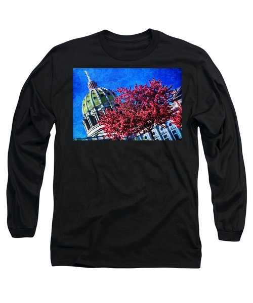 Long Sleeve T-Shirt featuring the photograph Pennsylvania State Capitol Dome In Bloom by Shelley Neff