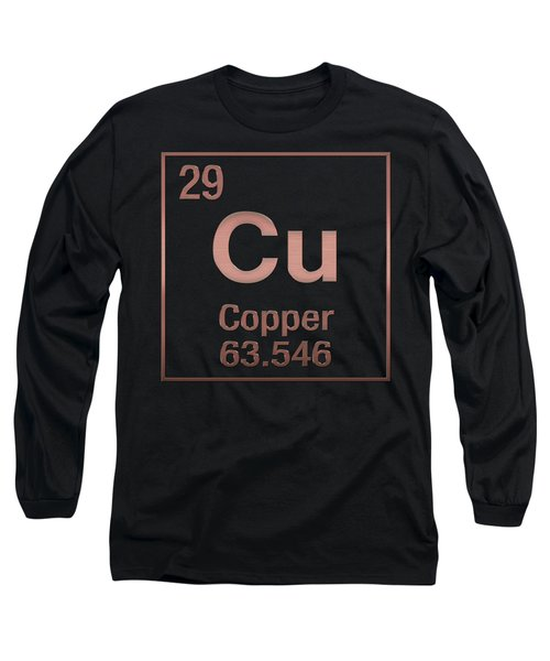 Periodic Table Of Elements - Copper - Cu - Copper On Black Long Sleeve T-Shirt