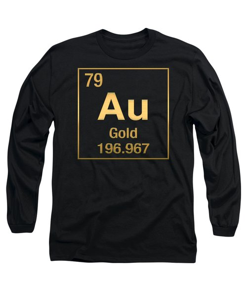 Periodic Table Of Elements - Gold - Au - Gold On Black Long Sleeve T-Shirt by Serge Averbukh