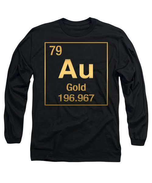 Periodic Table Of Elements - Gold - Au - Gold On Black Long Sleeve T-Shirt