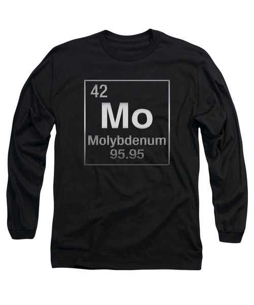 Periodic Table Of Elements - Molybdenum - Mo - On Black Long Sleeve T-Shirt