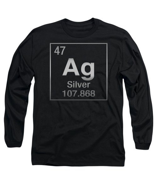 Periodic Table Of Elements - Silver - Ag - Silver On Black Long Sleeve T-Shirt