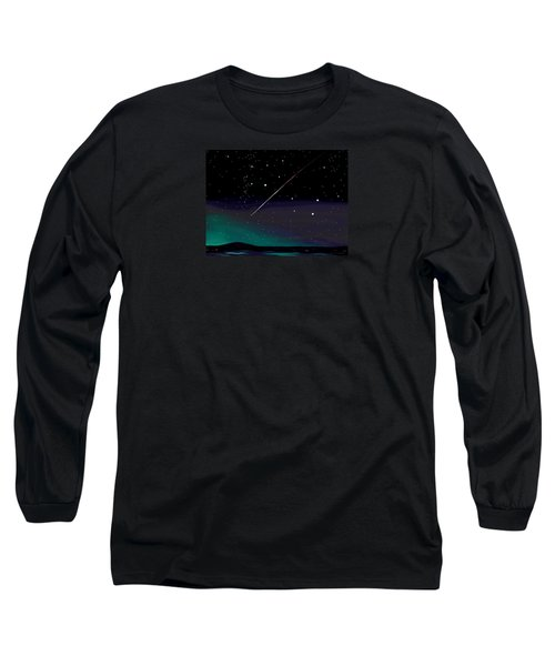 Perseid Meteor Shower  Long Sleeve T-Shirt by Jean Pacheco Ravinski