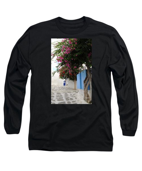 Long Sleeve T-Shirt featuring the photograph Perspective Blue Door by Haleh Mahbod