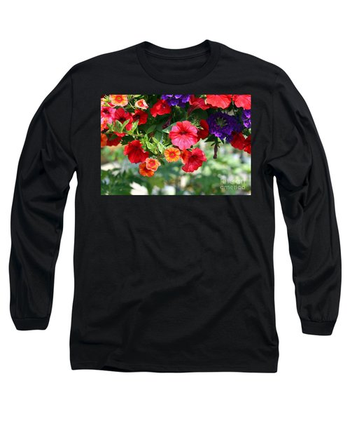 Long Sleeve T-Shirt featuring the photograph Petunias by Denise Pohl
