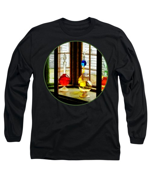 Long Sleeve T-Shirt featuring the photograph Pharmacist - Colorful Bottles In Drug Store Window by Susan Savad