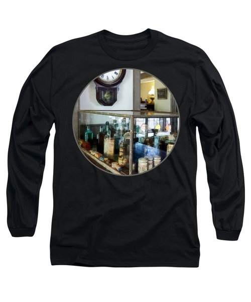 Long Sleeve T-Shirt featuring the photograph Pharmacist - Corner Drug Store by Susan Savad