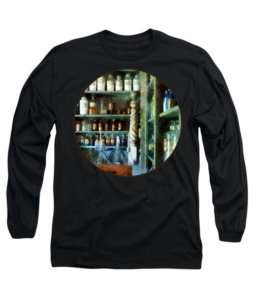 Long Sleeve T-Shirt featuring the photograph Pharmacy - Back Room Of Drug Store by Susan Savad