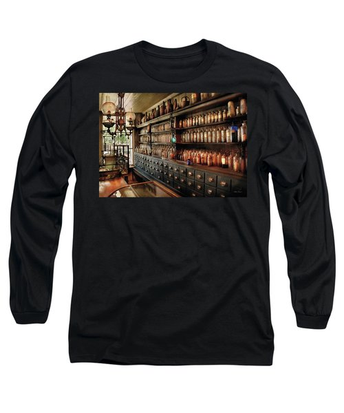 Pharmacy - So Many Drawers And Bottles Long Sleeve T-Shirt by Mike Savad