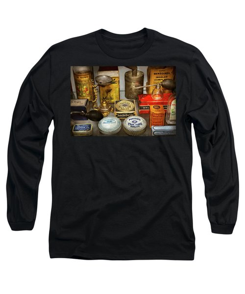 Long Sleeve T-Shirt featuring the photograph Pharmacy - The Pain King by Mike Savad