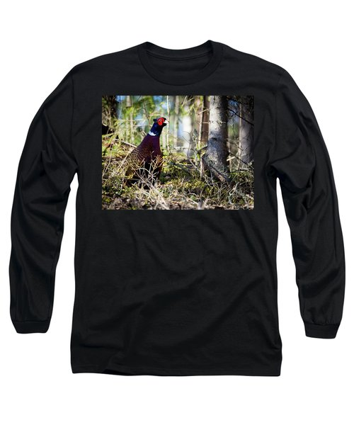 Pheasant In The Forest Long Sleeve T-Shirt by Teemu Tretjakov