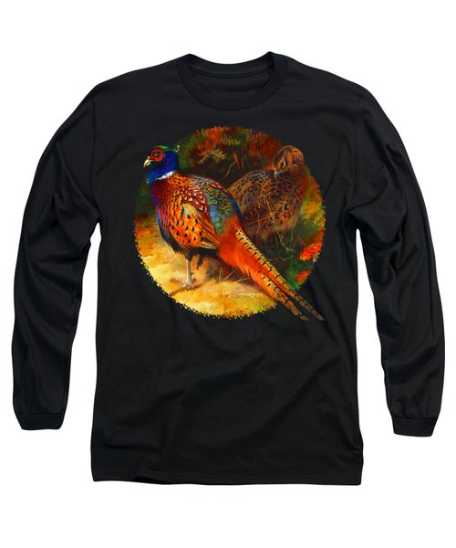 Pheasant Pair Long Sleeve T-Shirt by Raven SiJohn