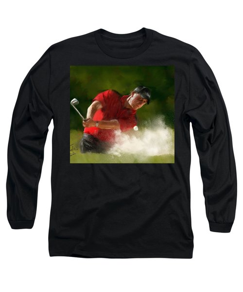 Phil Mickelson - Lefty In Action Long Sleeve T-Shirt by Colleen Taylor