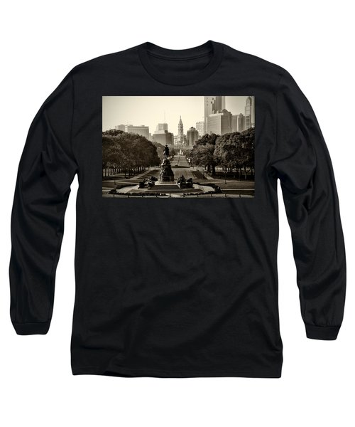 Philadelphia Benjamin Franklin Parkway In Sepia Long Sleeve T-Shirt