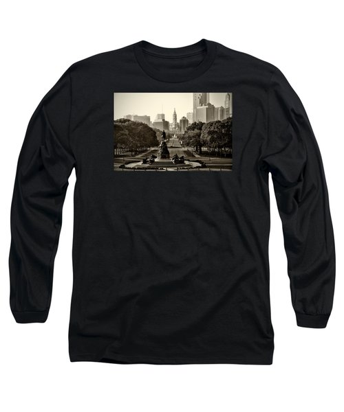 Long Sleeve T-Shirt featuring the photograph Philadelphia Benjamin Franklin Parkway In Sepia by Bill Cannon