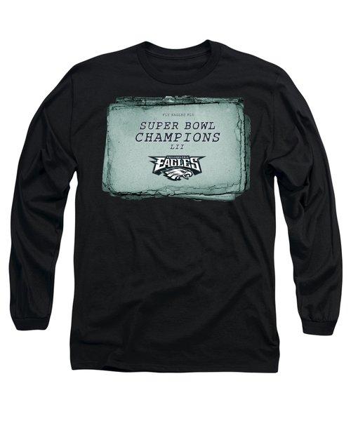 Philadelphia Eagles Super Bowl Champions  L I I  Playbook With Transparent Background Long Sleeve T-Shirt