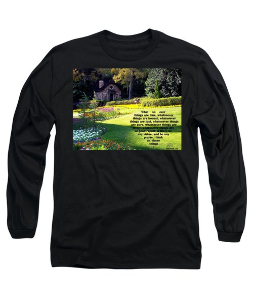 Long Sleeve T-Shirt featuring the photograph Philippians 4-8 The  Cottage House by Cynthia Amaral