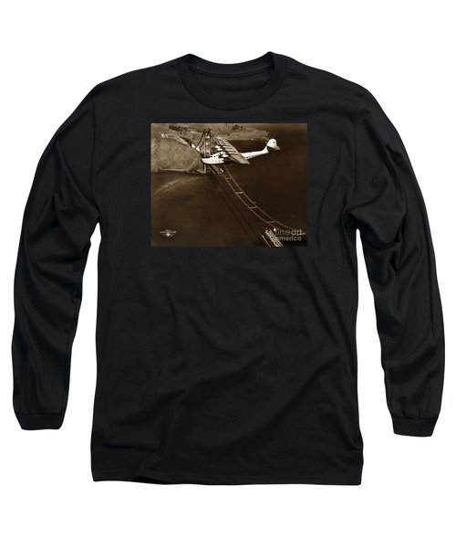Philippine Clipper A Pan Am Clipper Over The Golden Gate Bridge  1935 Long Sleeve T-Shirt by California Views Mr Pat Hathaway Archives