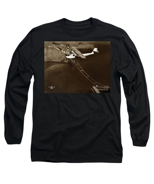 Philippine Clipper A Pan Am Clipper Over The Golden Gate Bridge  1935 Long Sleeve T-Shirt