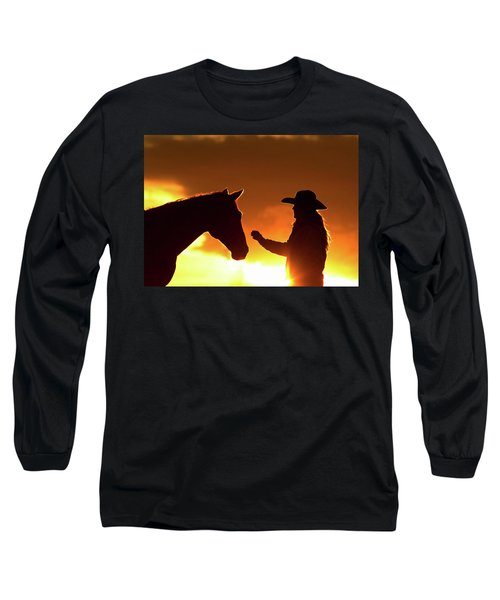 Cowgirl Sunset Sihouette Long Sleeve T-Shirt